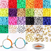 5,100 Pcs Clay Heishi Beads, Flat Round Polymer Clay Beads DIY Jewelry Marking Kit for Bracelets Necklace Earring…