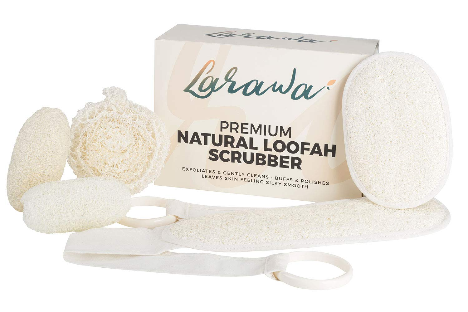 Larawa Loofah Set - Back / Pad / Foot / Oval Facial Scrubber Sponges Body Shower Exfoliating - 100% Natural Luffa for Men and Women (Pack of 5)