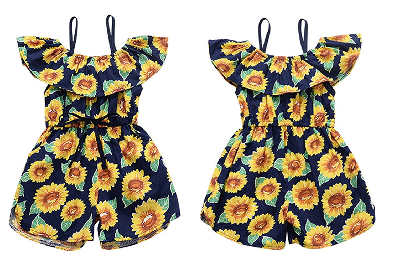 AYIYO Baby Girls Ruffle Straps Loose Floral Printed Short Romper Jumpsuit