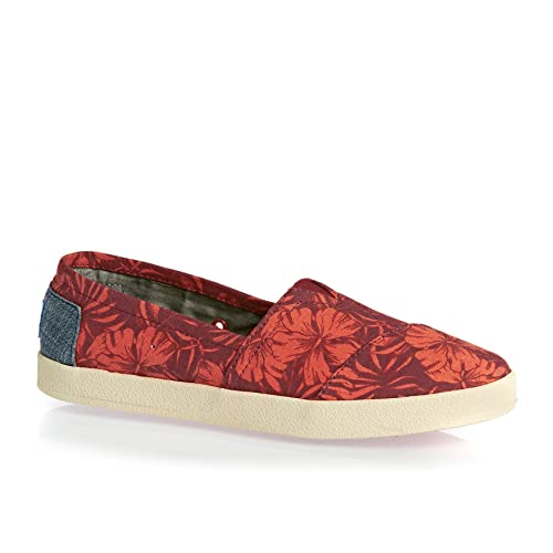 9c7bfd8ae216 TOMS Avalon Red Canvas Hibiscus Ladies Shoes  Amazon.co.uk  Shoes   Bags