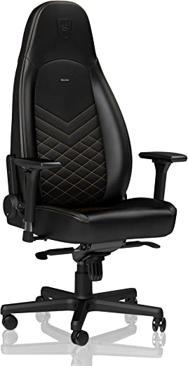 noblechairs ICON Gaming Chair - Office Chair - Desk Chair - PU Faux Leather - Black/Gold