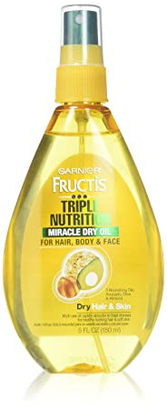Garnier Fructis Haircare Triple Nutrition Miracle Dry Oil for Hair, Body, Face 5 oz Pack of 2