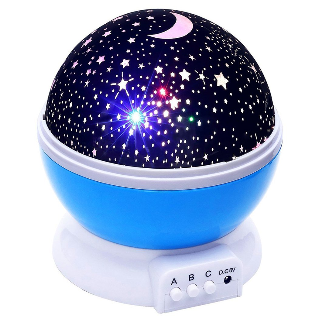 Xubox Night Light for Kids, 2-In-1 Multi Colors Rotating Star Projector and Baby Night Light, Romantic USB or Battery Powered LED Bedside Projection Lamp for Bedroom, Christmas, Unique Gift, Blue