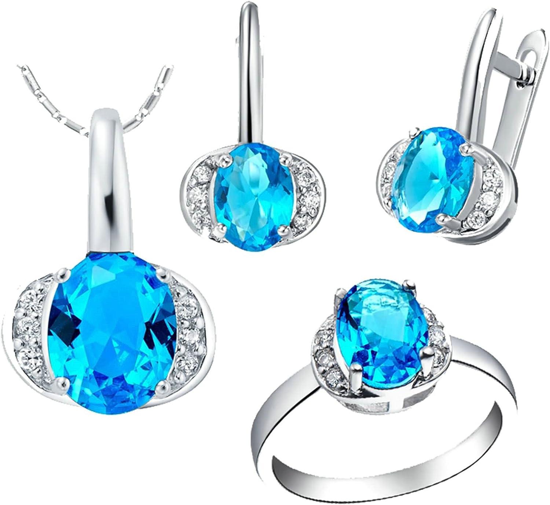 KnSam Collar Plata Mujer, Conjunto de Collar Pendientes y Pulsera, Oval Azul Cristal Juego de Joyas Tamaño 17