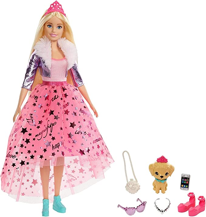 Barbie Princess Adventure Doll in Princess Fashion (12-in Blonde) Barbie Doll with Pet Puppy, 2 Pairs of Shoes, Tiara and 4 Accessories, for 3 to 7 Year Olds