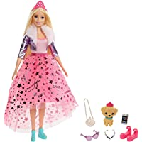 Barbie Princess Adventure Doll in Princess Fashion (12-in Blonde) Barbie Doll with Pet Puppy, 2 Pairs of Shoes, Tiara…