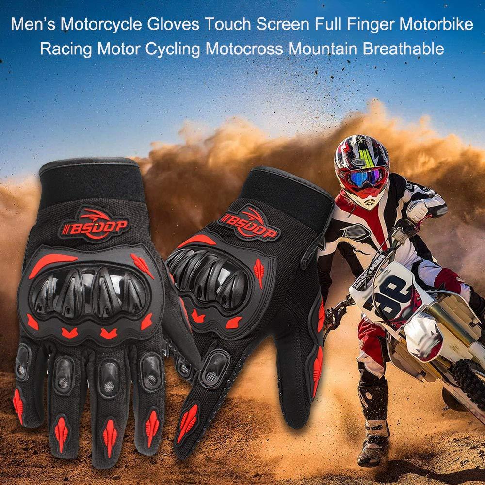 Verde L KKmoon Guanti da Moto Touch Screen Guanti a Dito Pieno per Racing Moto Ciclismo Motocross Mountain Traspirante