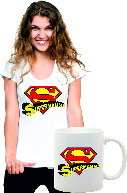 Idea Regalo per la Tua Mamma Happy Mothers Day Coppia Tshirt e Tazza Festa della Mamma Supermamma