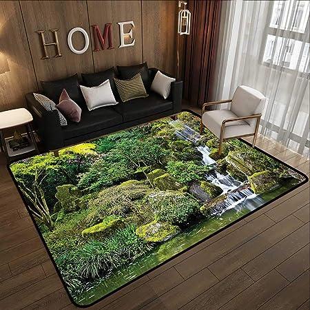 Alfombras para exterior, decoración del hogar del campo, un jardín de primavera con bosque, caseta, puente pequeño, plantas, flores y pasarelas, color verde y morado, grandes alfombrillas para sala de estar: Amazon.es: