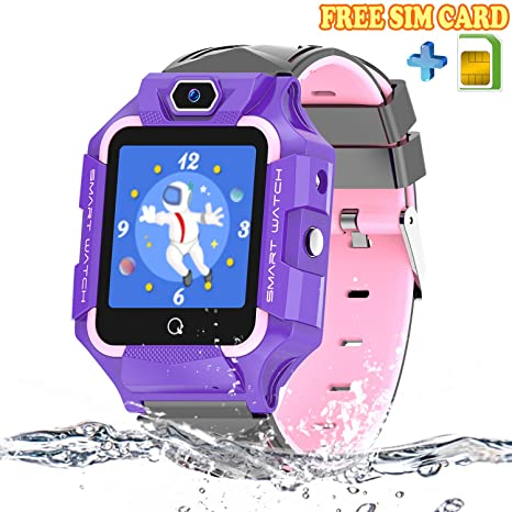 Kids Smartwatch with SIM Card, Waterproof LBS Tracker Phone Compatible iOS Android for Children, SOS Call Remote Camera 2 Way Call Touch Screen ...