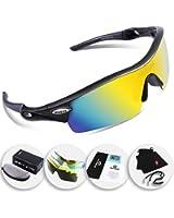 RIVBOS(リバッズ)RBK0805 スポーツサングラス 偏向サングラス 偏光レンズ1枚 交換レンズ5枚 ロードバイク 自転車uv400 紫外線カット メンズ レディース ユニセックス サングラス