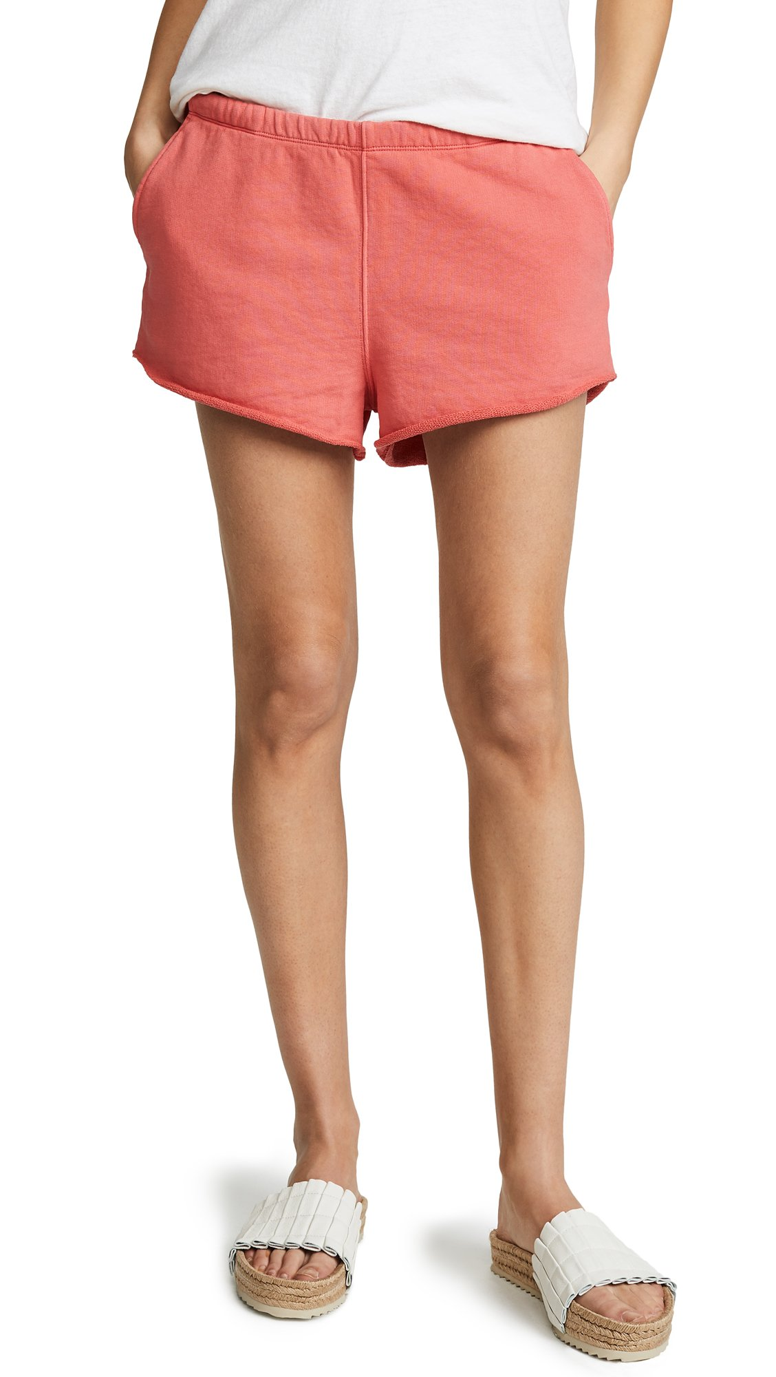FRAME Women's Terry Track Shorts, Faded Summer Red, Large