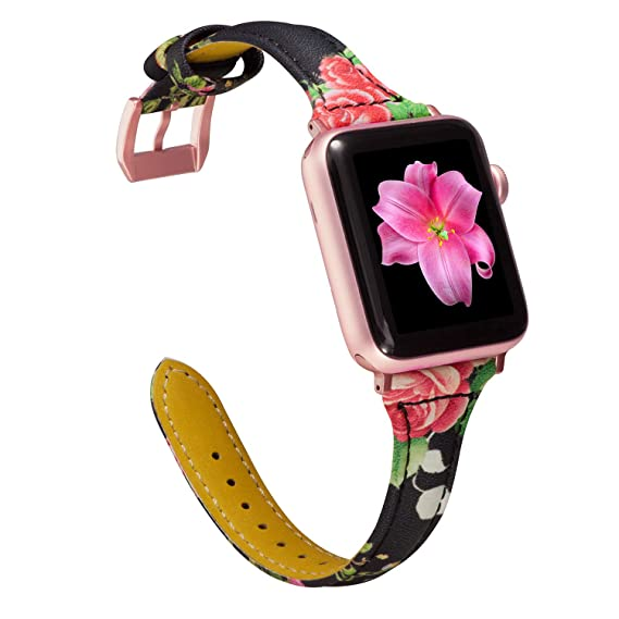 235b66b0938 Wearlizer Slim Leather Compatible Apple Watch Band 38mm 40mm Womens iWatch  Sports Straps Wristband Replacement Beauty
