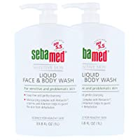 Sebamed Paraben-Free Face and Body Wash With Pump for Sensitive and Delicate Skin pH 5.5 Ultra Mild Dermatologist Recommended Cleanser 33.8 Fluid Ounces (1 Liter) Pack of 2