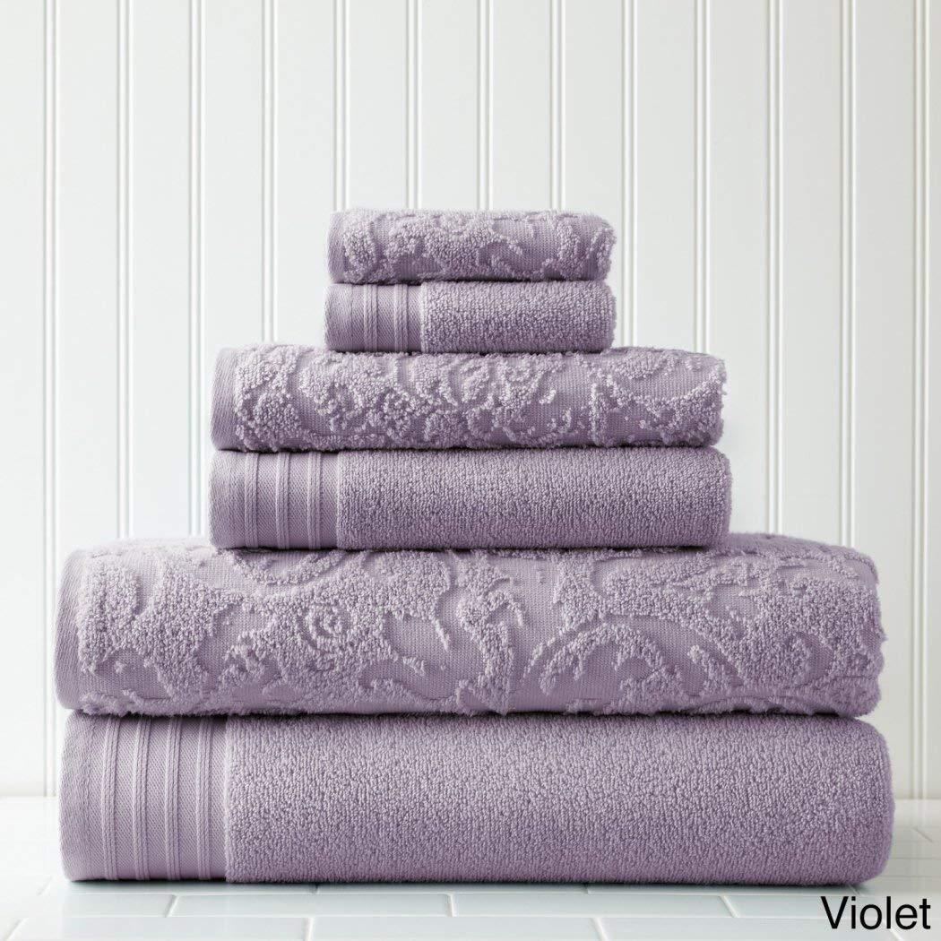 6 Piece Purple Bath Towel Set, Violet Damask Floral Flower Theme Towels, Leaf Victorian Vintage Modern Style Leafs Flowers Motif Thick Vibrant Solid Colors Luxurious, Cotton MFN