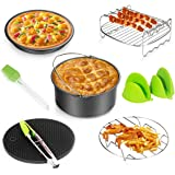 Air Fryer Accessories 8pcs for Gowise Phillips Cozyna Ninja All Standard Air Fryer(3.7-5.3QT)with Cake Barrel,Pizza Pan,Metal