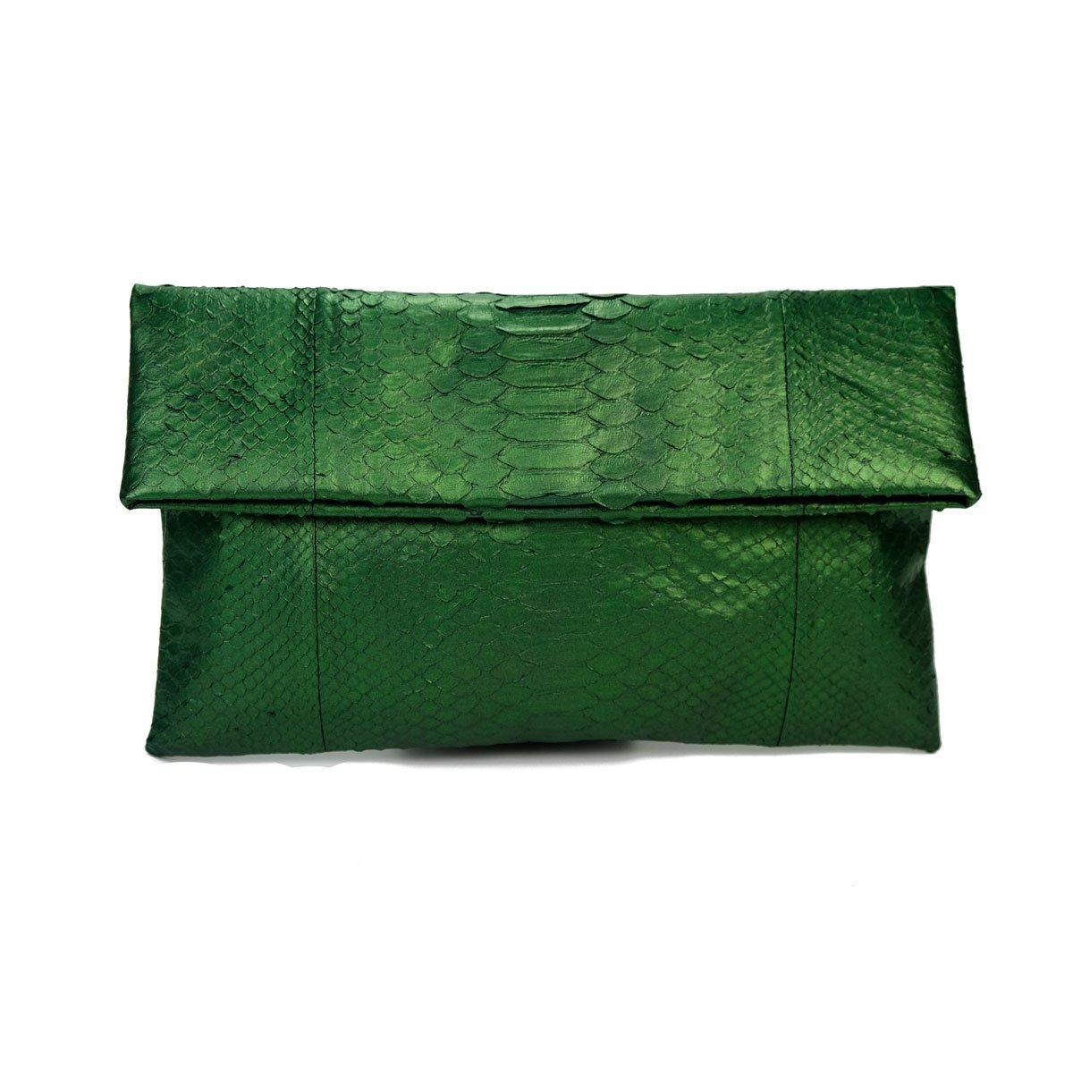 Genuine Metallic Moss Green Python Leather Classic Foldover Clutch Bag