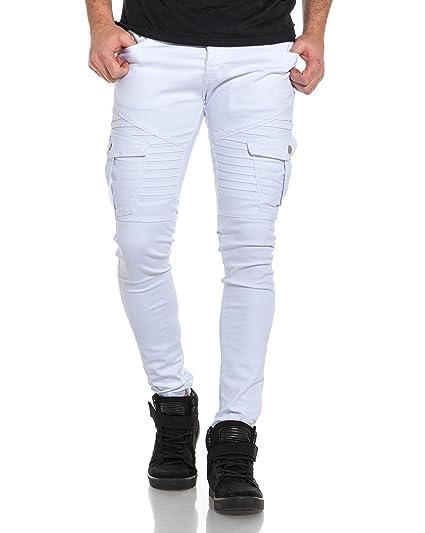 1cce207fa594 BLZ Jeans - Jean Homme Blanc Slim Poches Cargo nervuré - Couleur  Blanc -  Taille