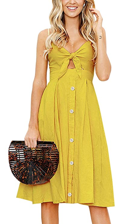 ECOWISH Womens Dresses Summer Tie Front V-Neck Spaghetti Strap Button Down A-Line Backless Swing Midi Dress 1603 Ginger Yellow M