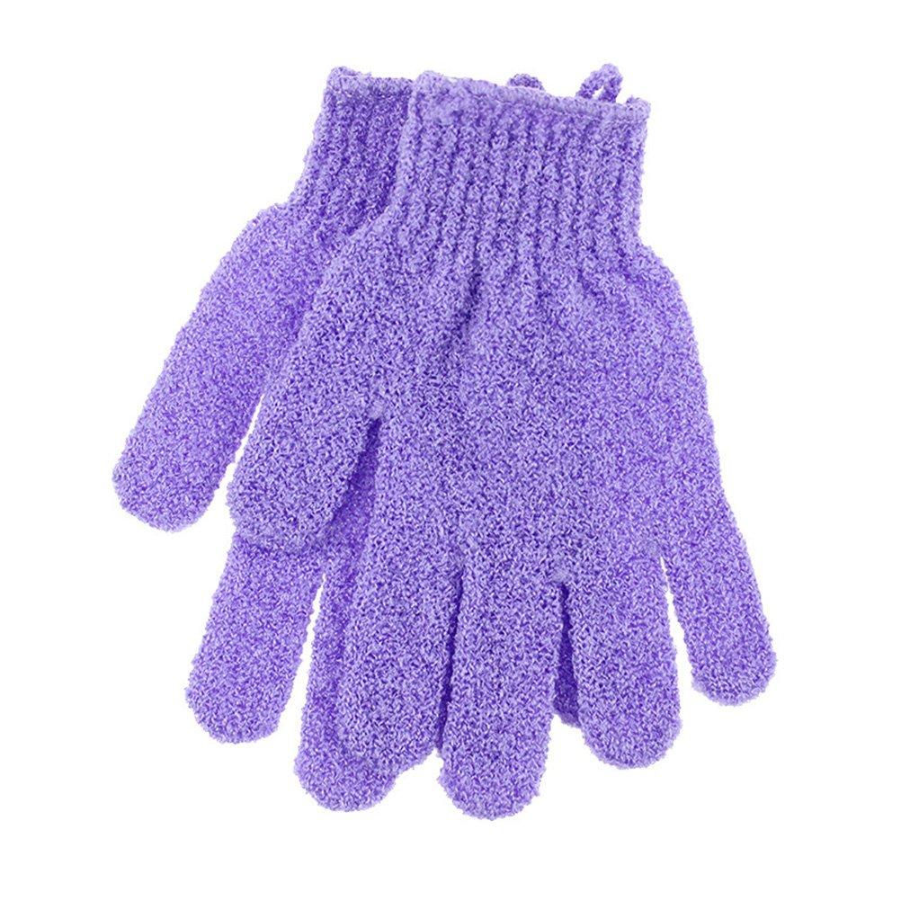 Frcolor Baño Exfoliating Five Fingers Glove Baño Ducha Sauna Scrubber Mitt para Hombres Mujeres (Púrpura), 1 Par