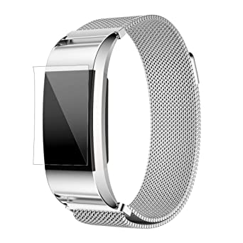 Fitbit Charge 2 Correas,Culater Correa Banda Reloj Acero Inoxidable+HD PelíCula Protector para Fitbit Charge 2 Plata: Amazon.es: Relojes