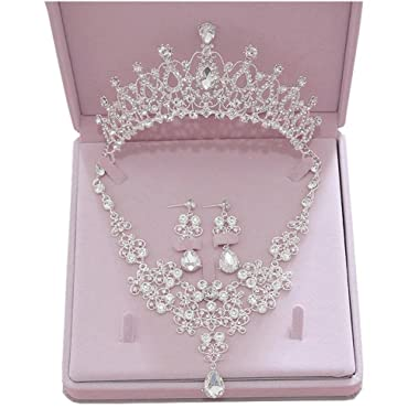 Ever Girl Bling Bride Hair Accessories Tiaras Earrings Necklace Wedding Sets