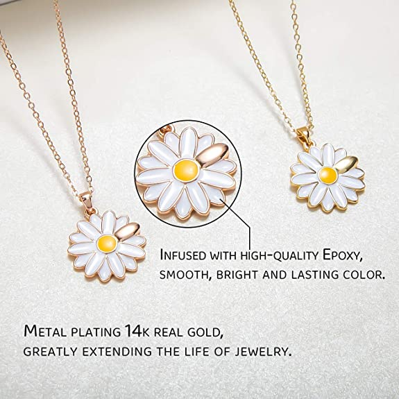 INTO ZBY Pendant Necklace Cute Daisy Necklace Gold//White Gold Plated Necklace 18 Fashion Jewelry Gift for Women