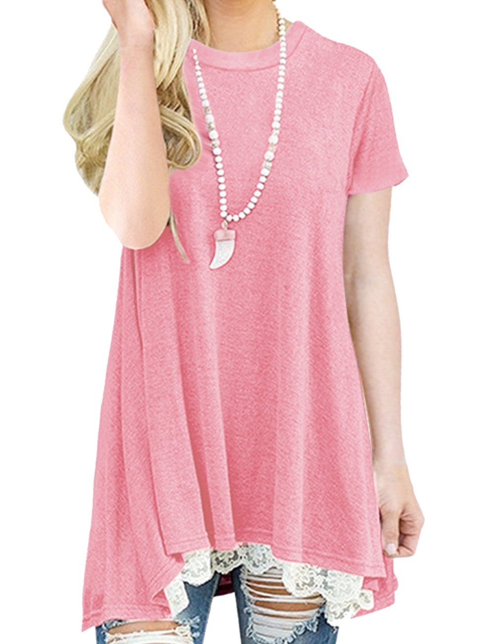 Women's Summer Short Sleeve Tunic Tops Lace Trim Tops Casual Blouse T Shirts (XL, Pink)