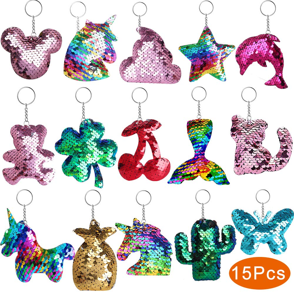 Outee Sequin Keychain 15 Pcs Flip Sequin Keychain for Mermaid Tail Clover Cat Animals Shape Party Supplies Favors for Kids Adults Party Events Gift 15 Different Designs by Outee