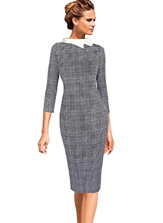 3d7a31a592e VFSHOW Womens Celebrity Black and White Glen Plaid Colorblock Lapel Work  Business Office Sheath Dress 2521