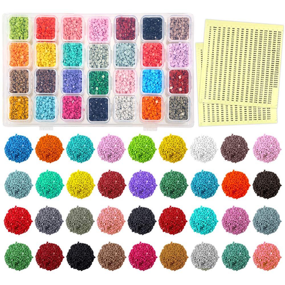 PP OPOUNT 36 Colors Diamond Painting Replacement Square Diamonds with Diamond Storage Box and 2 Sheets Color Number Stickers for Missing Drills of Diamond Cross Stitch