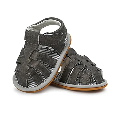 2258f5fcc New Spring Summer Baby Boys Sandals Pu Leather Hard Sole Anti-Slip Infant  Child Kids