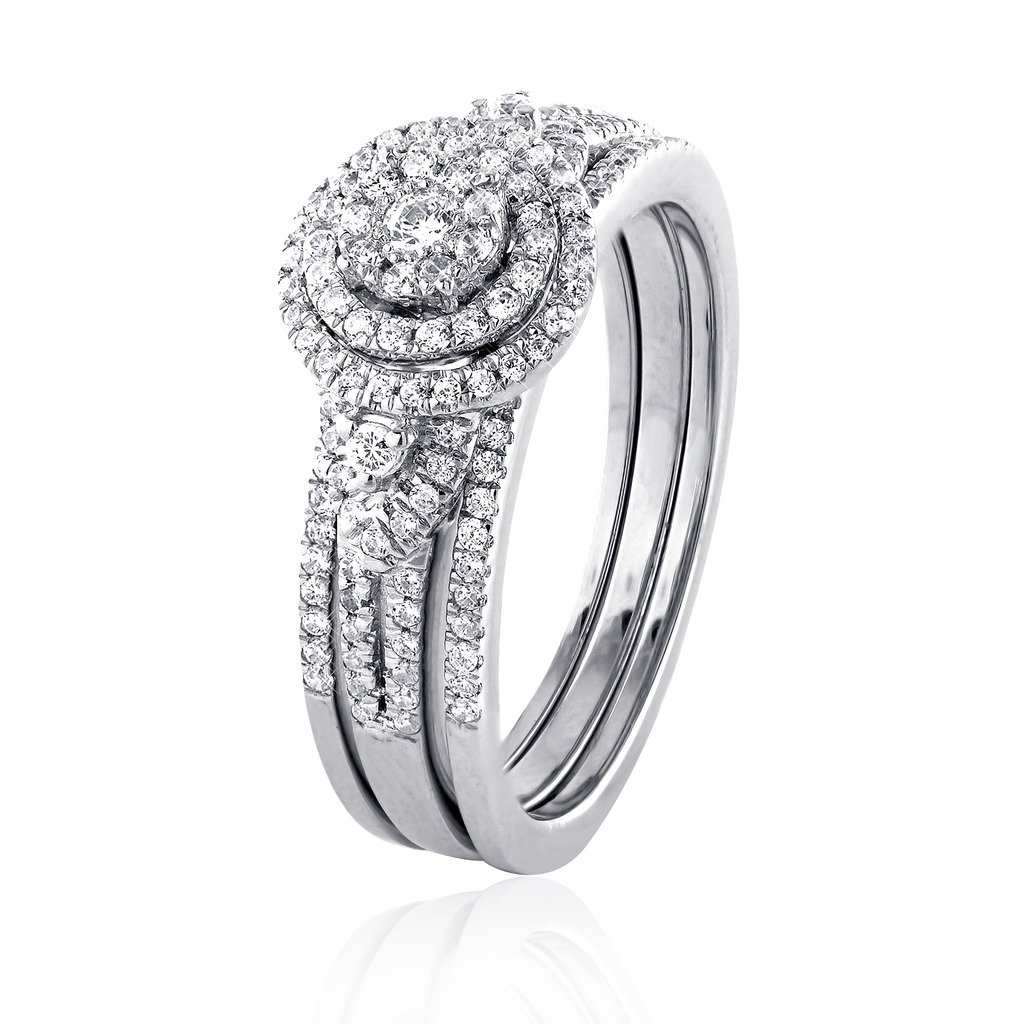 0.75 CT. White GH-I2 Natural Diamond Bridal Collection 14K White Gold Wedding Ring Set With Matching Band