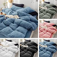 Super Warm Teddy Bear Fleece Quilt Doona Duvet Cover Set All Size Winter Thermal (Black, Double)