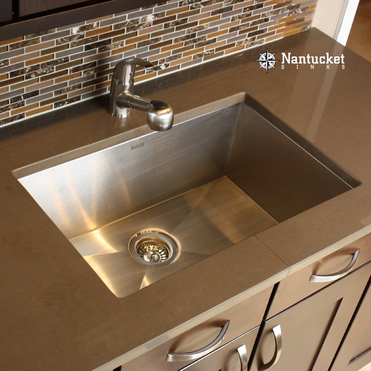 Nantucket Sinks ZR2818 16 28 Inch Pro Series Single Bowl Undermount Kitchen  Sink, Stainless Steel     Amazon.com