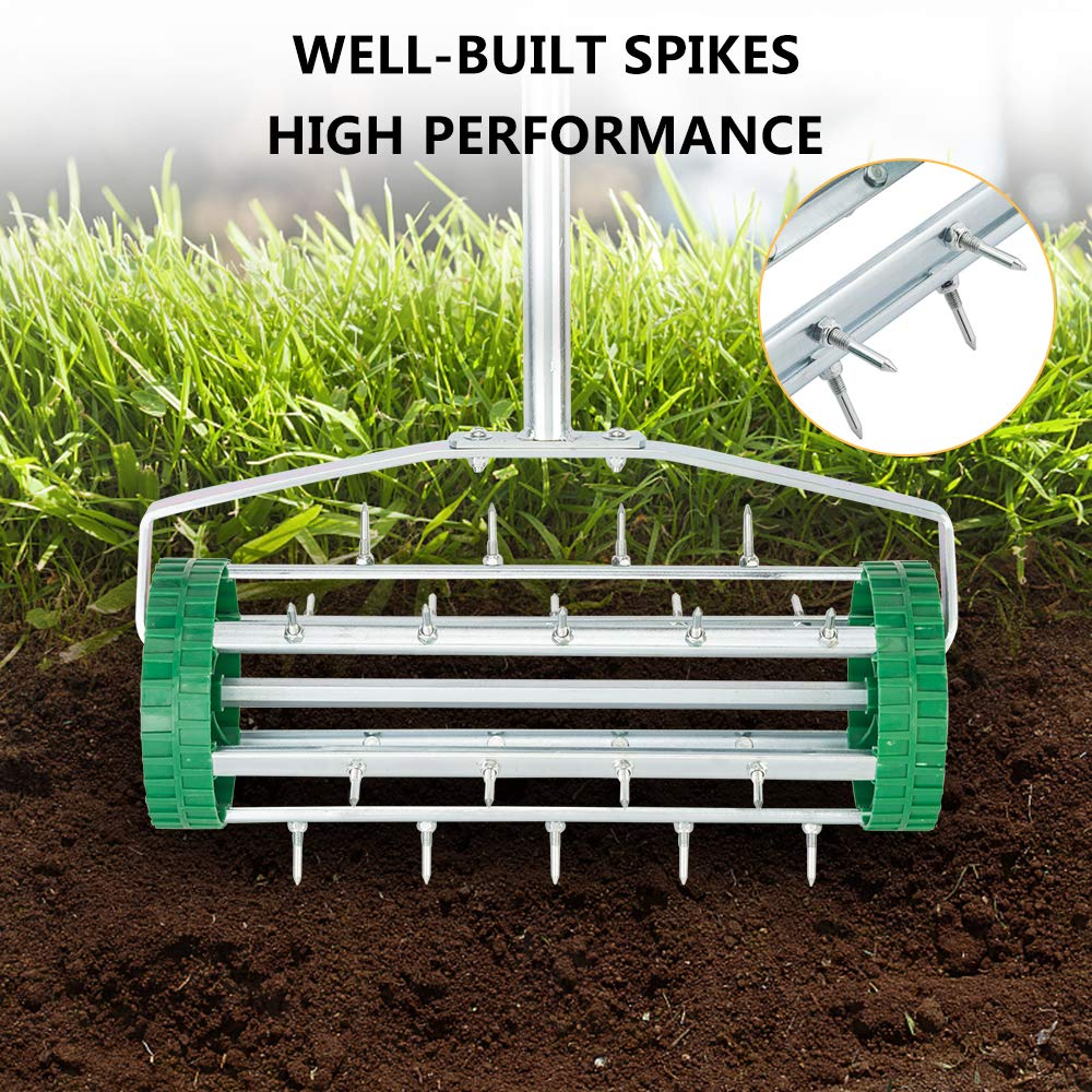 VINGLI Rolling Lawn Aerator with 51'' Handle, Push Spike Tine Roller for Home Garden Yard Patio Grass Soil Aeration, Roller Secured by Fasteners by VINGLI (Image #2)