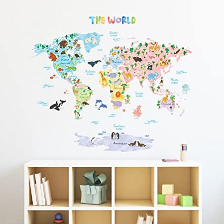 decowall dmt 1615s animal world map kids wall stickers wall decals
