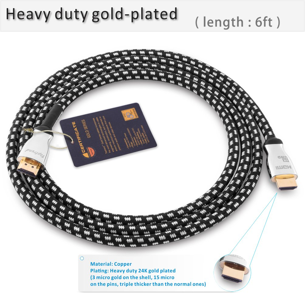 4K HDMI Cable 6ft -HDMI 2.0 Cord Supports 1080p, 3D, 2160p, 4K UHD, HDR, Ethernet and Audio Return -CL3 for in-Wall Installation -28AWG Braided for HDTV, Xbox, Blue-Ray Player, PS3, PS4, PC, Apple TV by Toptrend (Image #2)
