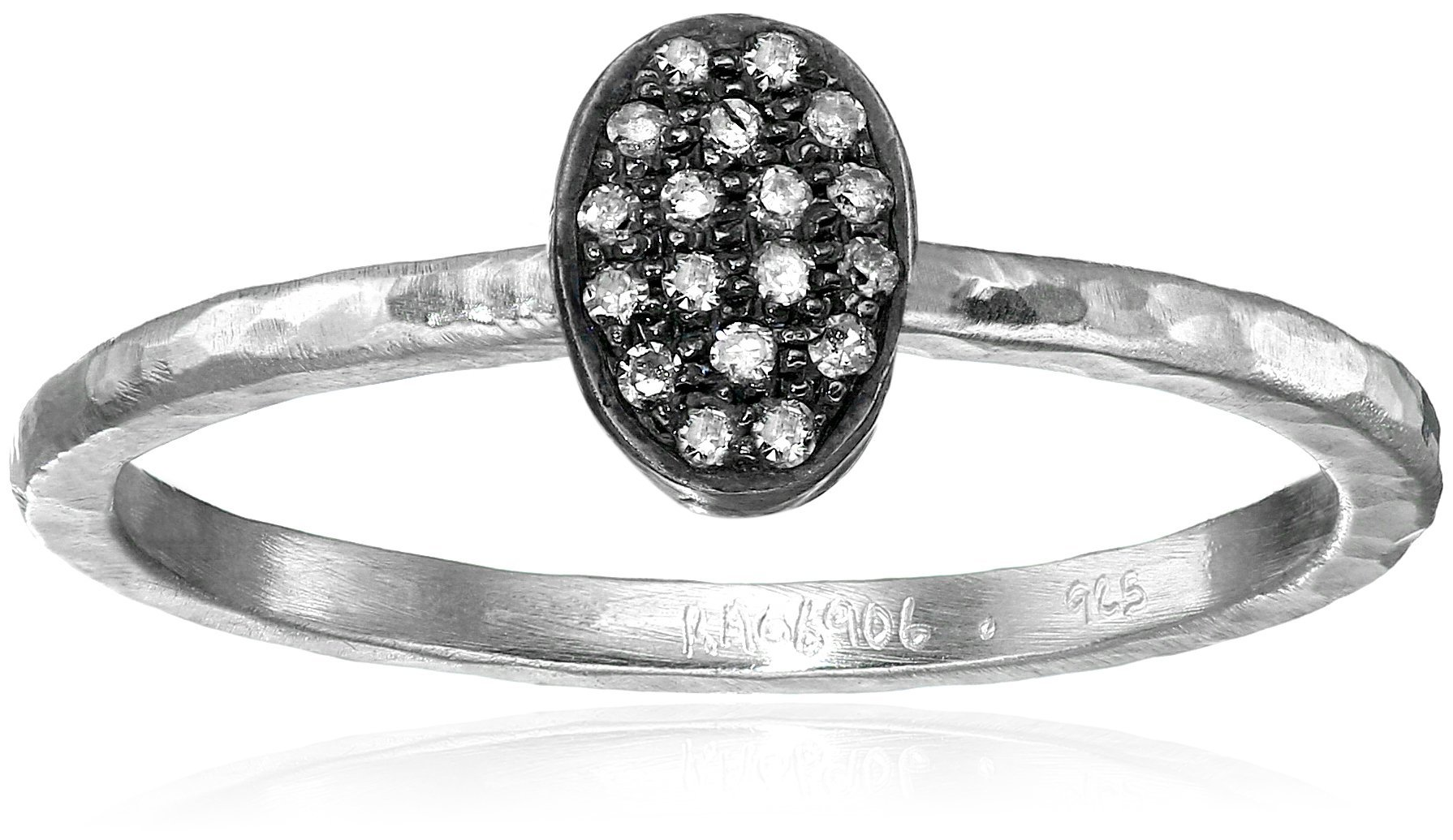 GURHAN Jordan Pave Diamond Sterling Silver Stackable Ring (1/10cttw, I-J Color, I2 Clarity), Size 6.5
