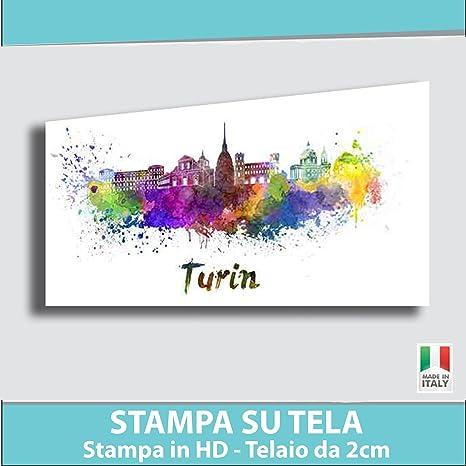 Quadro Moderno Stampa Su Tela.Quadro Moderno Torino Skyline Tantissime Misure E Formati