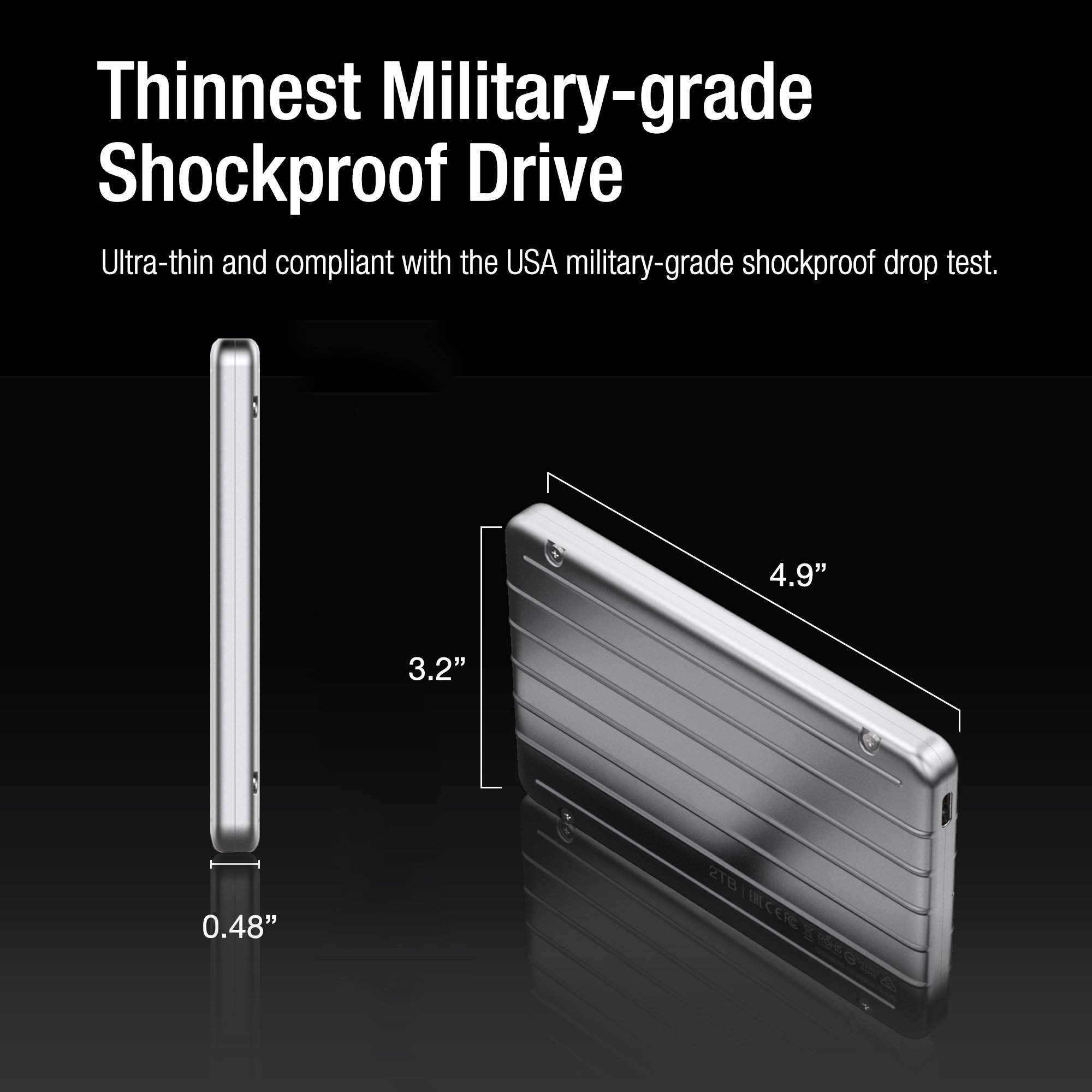 Silicon Power SU010TBPHDA75S3SAE 1TB Ultra Slim Rugged Armor A75 Shockproof USB 3.0 (USB 3.1 Gen 1) 2.5'' Portable External Hard Drive, Silver by Silicon Power (Image #2)