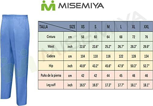 Pantalone Sanitario Unisex Vita Elastica Uniforme di Lavoro Clinica Ospedale Pulizia Veterinario IGIENE OSPITALIT/À MISEMIYA Ref.8312