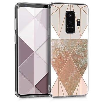 kwmobile Funda para Samsung Galaxy S9 Plus - Carcasa de TPU para móvil y diseño de geometría en Beige/Oro Rosa/Blanco
