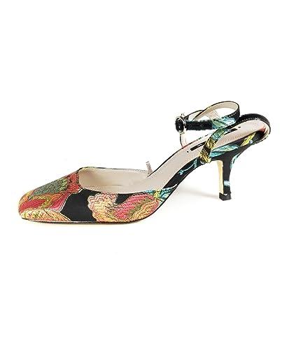 d3a9a6582b7 Zara Women s Embroidered kitten heel slingback shoes 6236 201 (38 EU ...