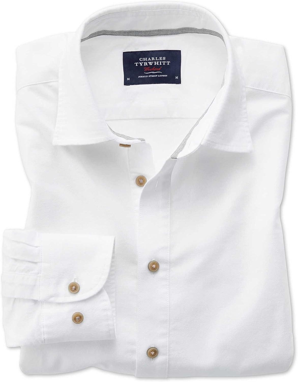 Camisa Ligera de Verano Blanco Roto de Sarga Slim fit: Amazon.es: Ropa y accesorios