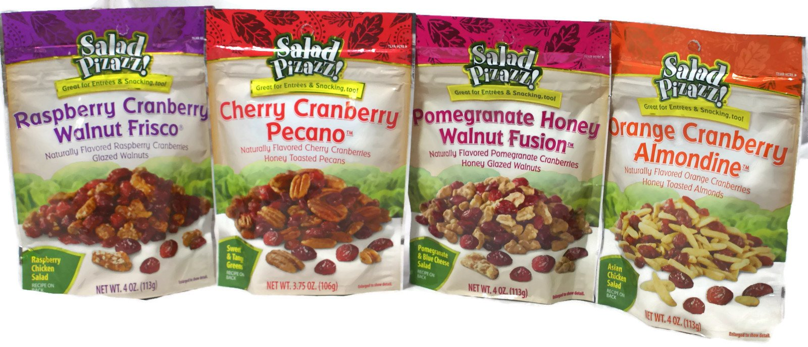 Variety Pack - Salad Pizazz Snacking Nuts - Cherry Cranberry Pecano (3.75 oz), Orange Cranberry Almondine (4 oz), Raspberry Cranberry Walnut Frisco (4 oz), Pomegranate Honey Walnut Fusion (4 oz)