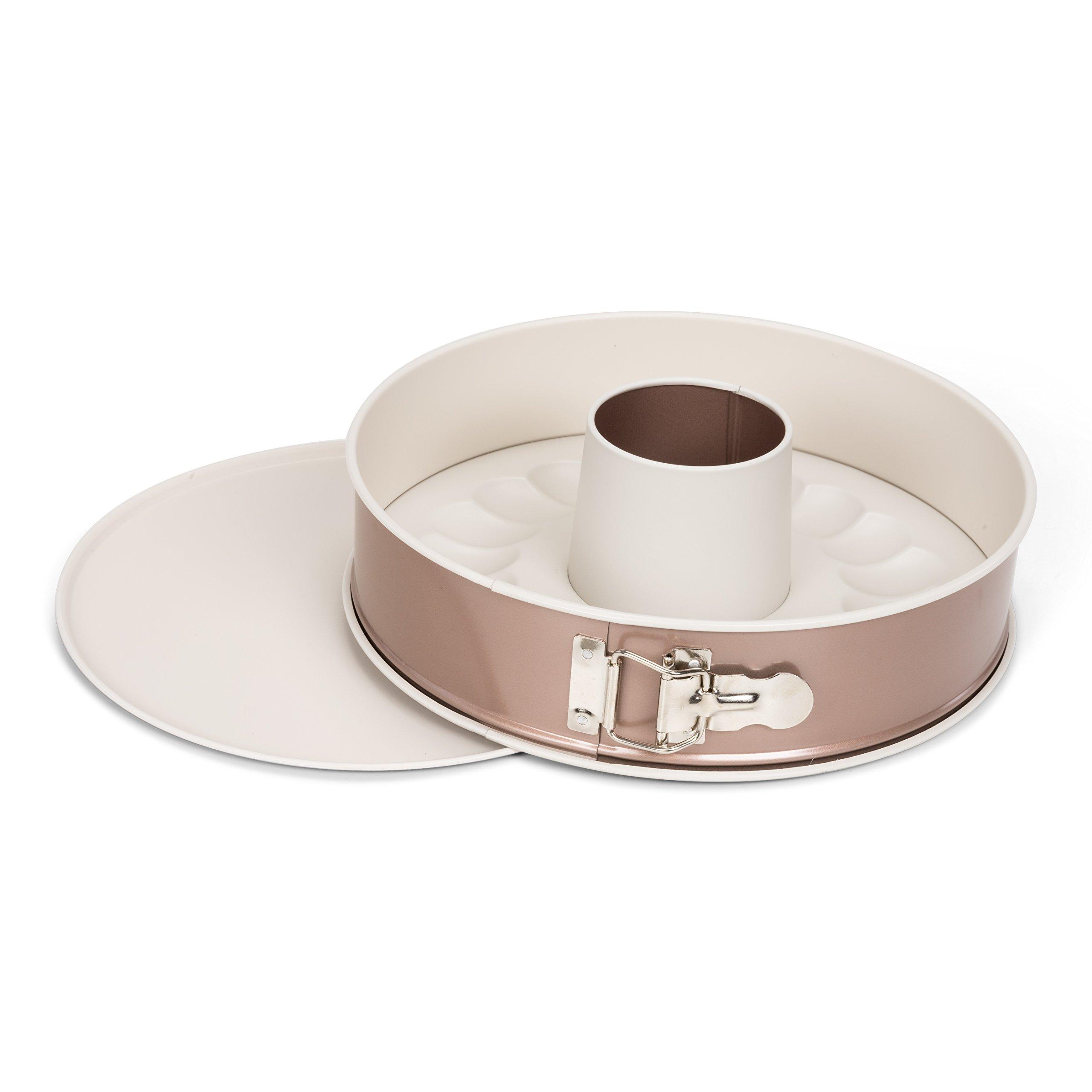 Patisse 03346 w/Extra Bottom Ceramic Springform Bundt Pan 10-1/4''(26 cm), 10.25'', Copper Off White by patisse