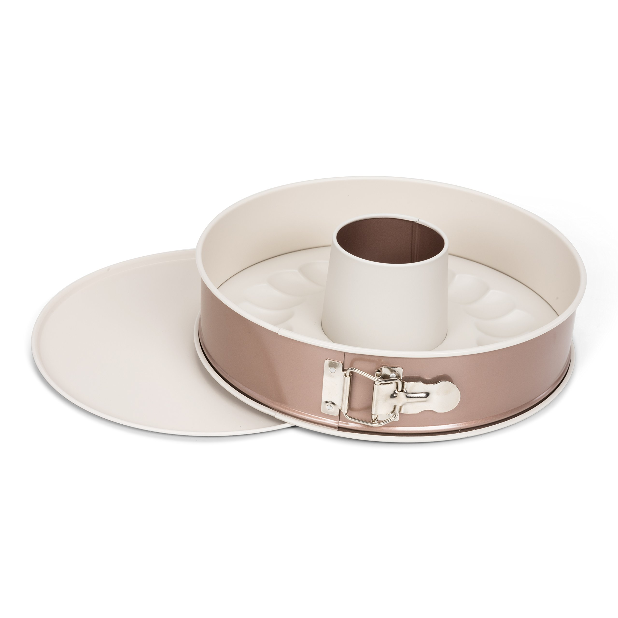 Patisse 03346 w/Extra Bottom Ceramic Springform Bundt Pan 10-1/4''(26 cm), 10.25'', Copper Off White