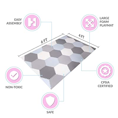 Baby Brielle Interlocking Hexagon Floor Foam Tile Activity Mat for Tummy Time, Crawling, and Playing Ultra Thickness Playmat for Infants and Toddlers for Nursery Room in Grey/White : Baby