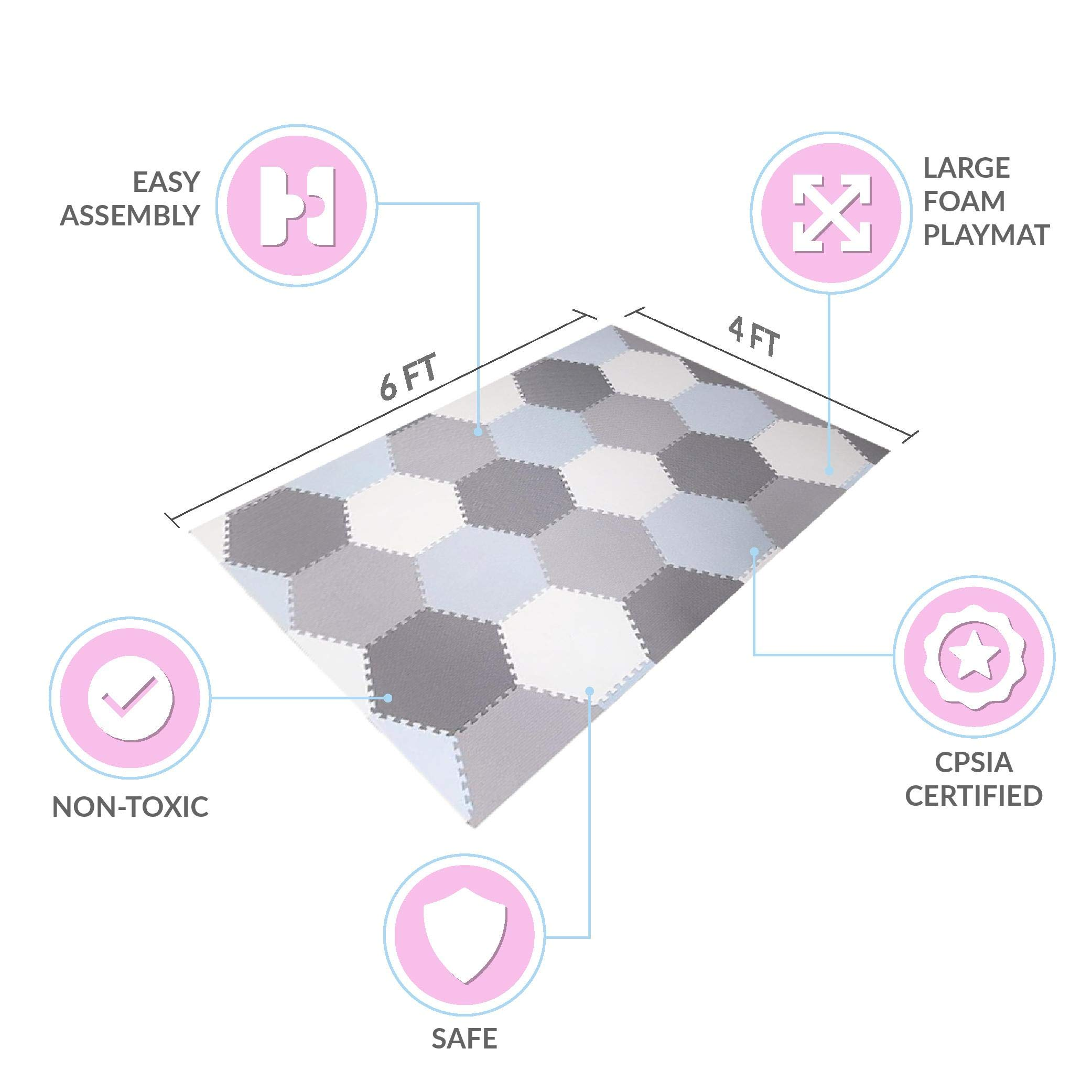 Baby Brielle Interlocking Hexagon Floor Foam Tile Activity Mat for Tummy Time, Crawling, and Playing Ultra Thickness Playmat for Infants and Toddlers for Nursery Room in Grey/White by Baby Brielle